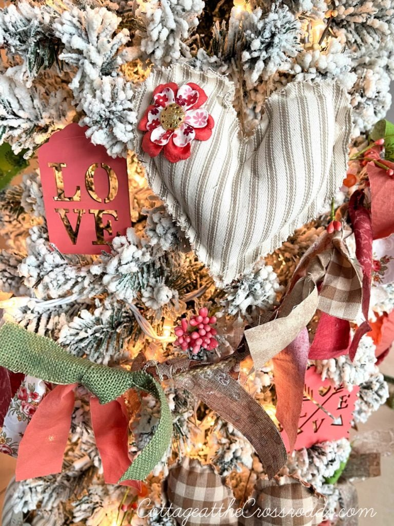 fabric heart on a Valentine's tree