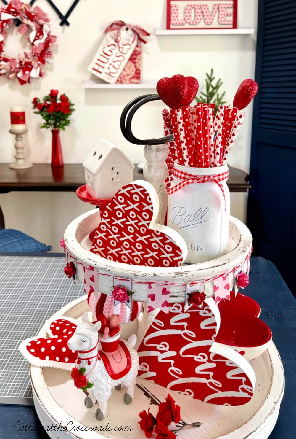 Valentine's Day tiered tray with mini bunting