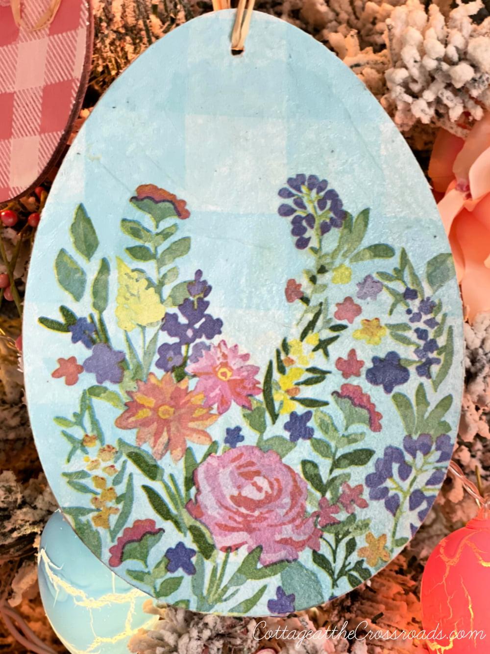 decoupaged blue and white Easter egg