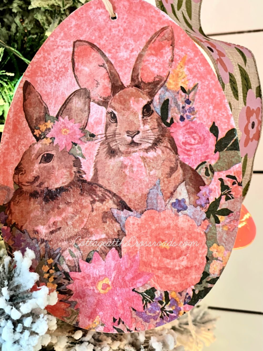 coral decoupaged Easter egg