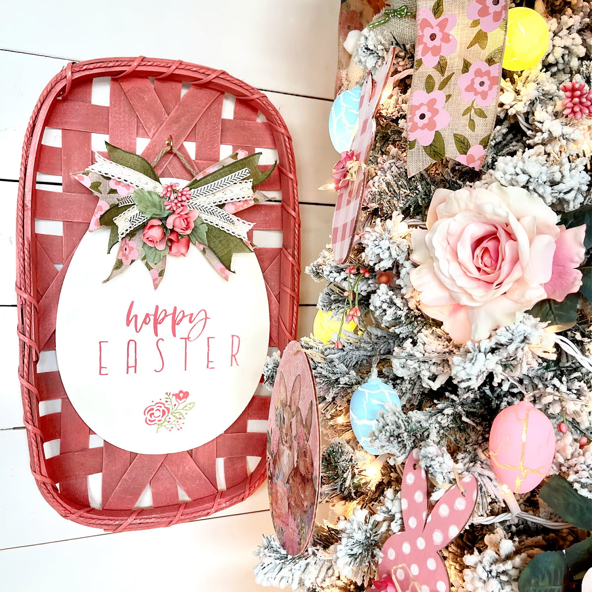 decorated Easter tree with a tobacco basket beside it