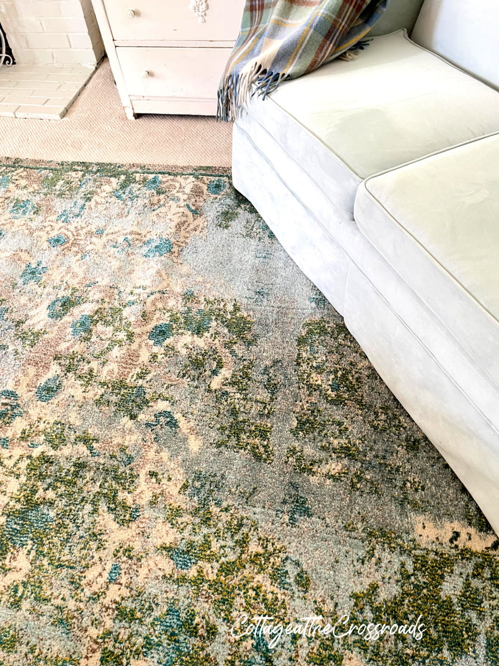 close up of blue and green rug