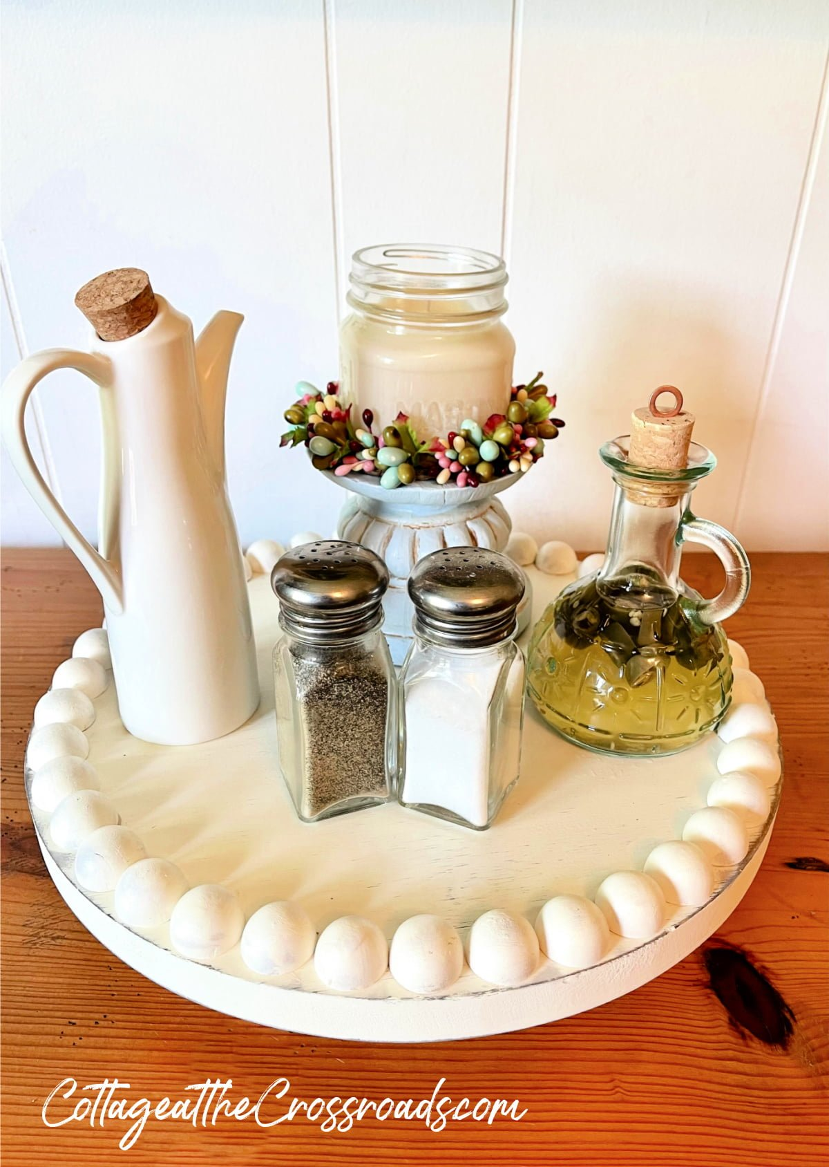 farmhouse lazy Susan with condiments and candle
