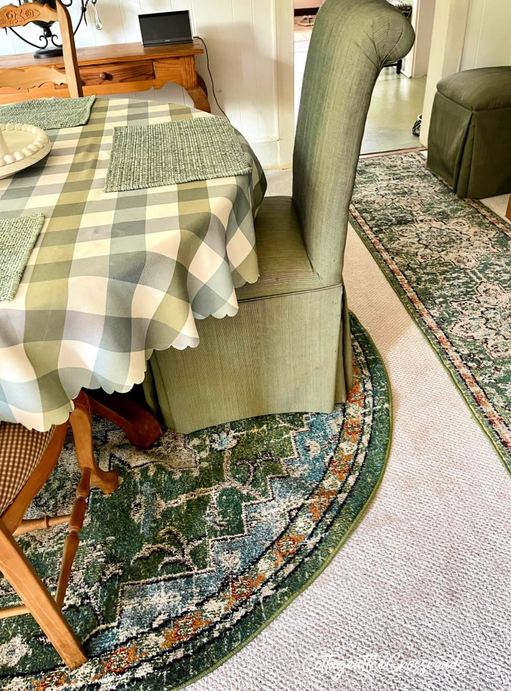 area rug under a round table