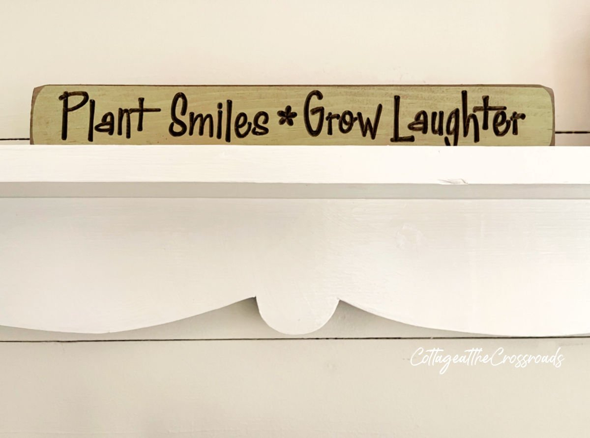 Plant Smiles Grow Laughter sign on shelf
