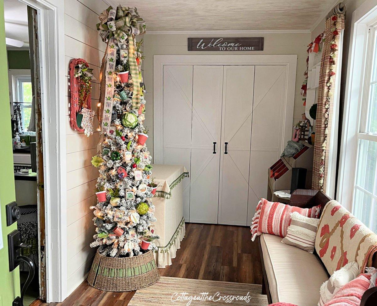 garden theme Christmas tree showcases our love of gardening