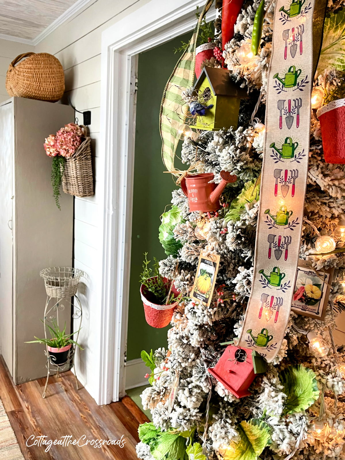 garden theme Christmas in our mudroom