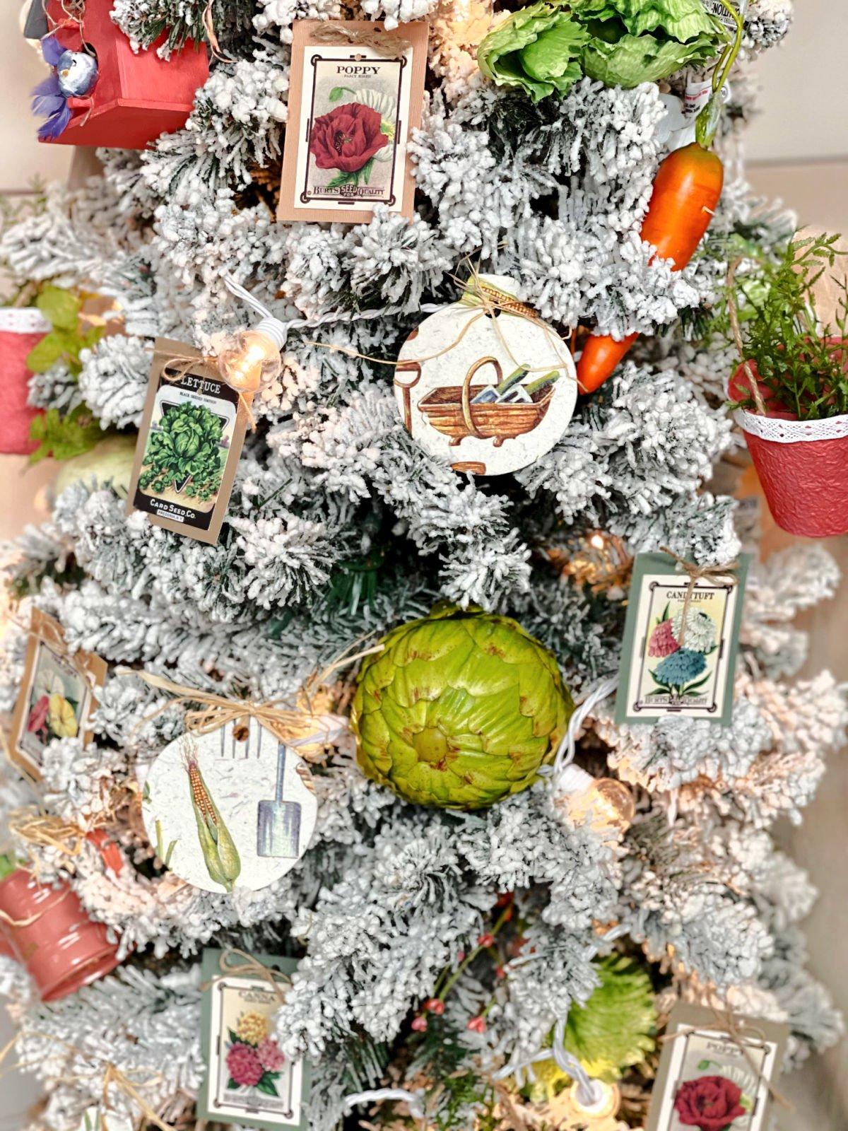 ornaments on a garden theme Christmas tree
