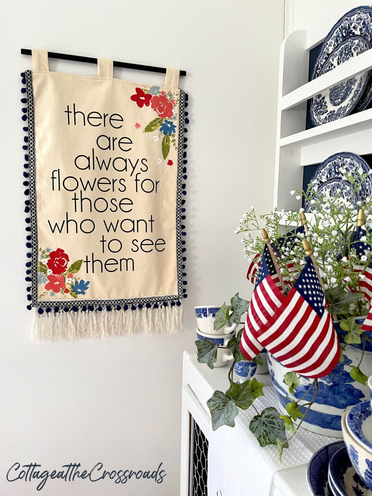 wall hanging with Chalk Couture florals