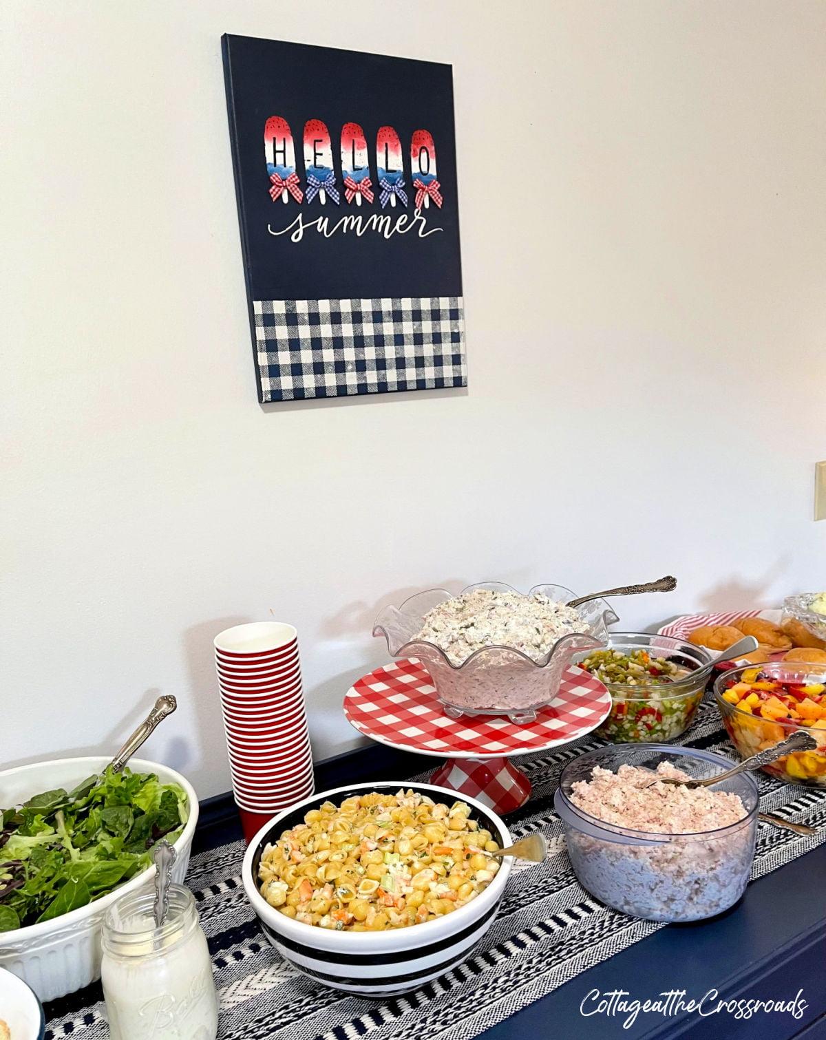 food on buffet
