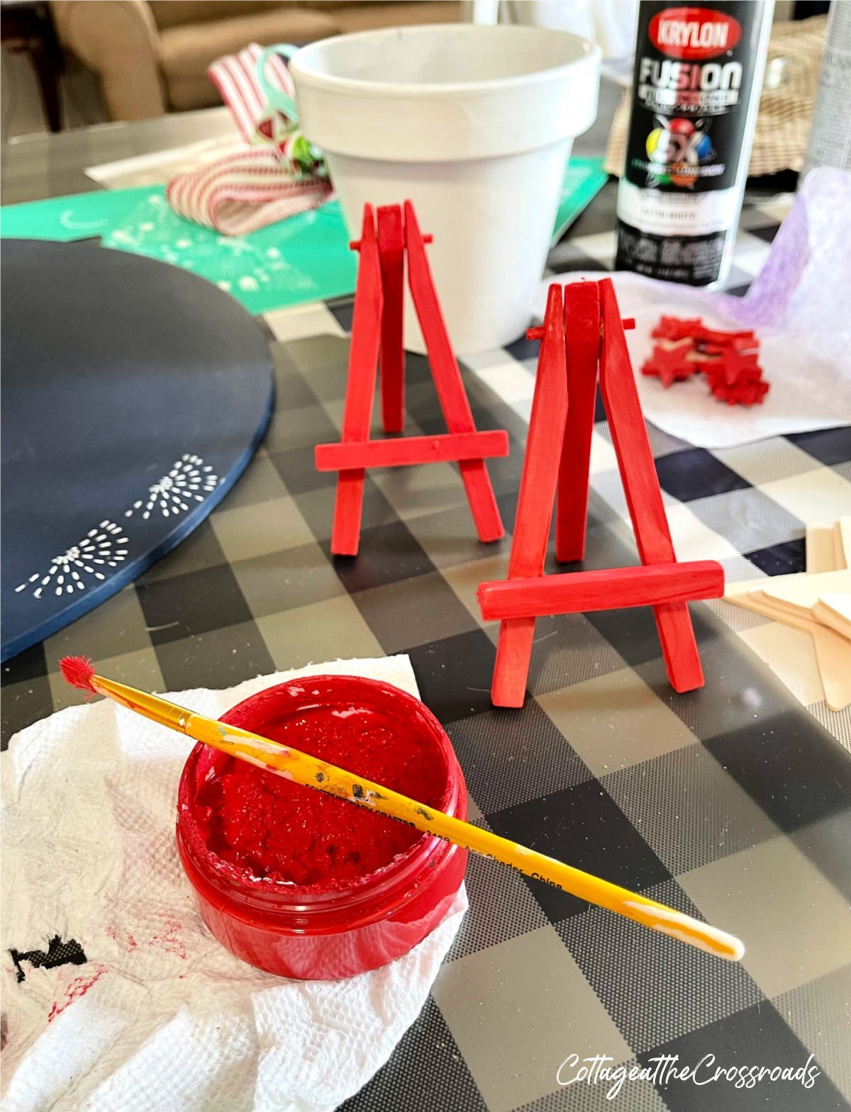 mini easels painted red