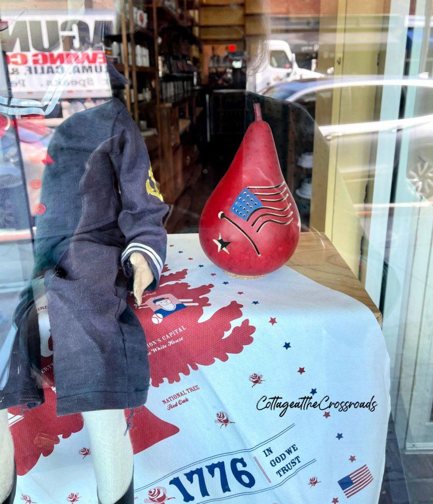 patriotic gourd in a shop window in Beaufort SC