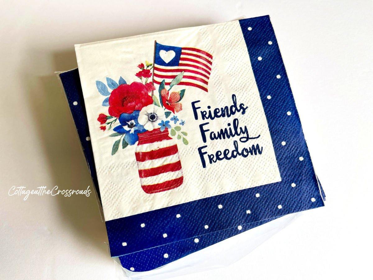 patriotic napkins with Mason jar