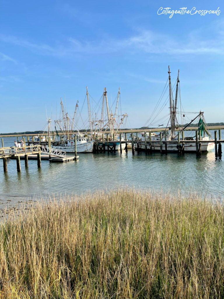 shrimp boats at a dock in Port Royal SC