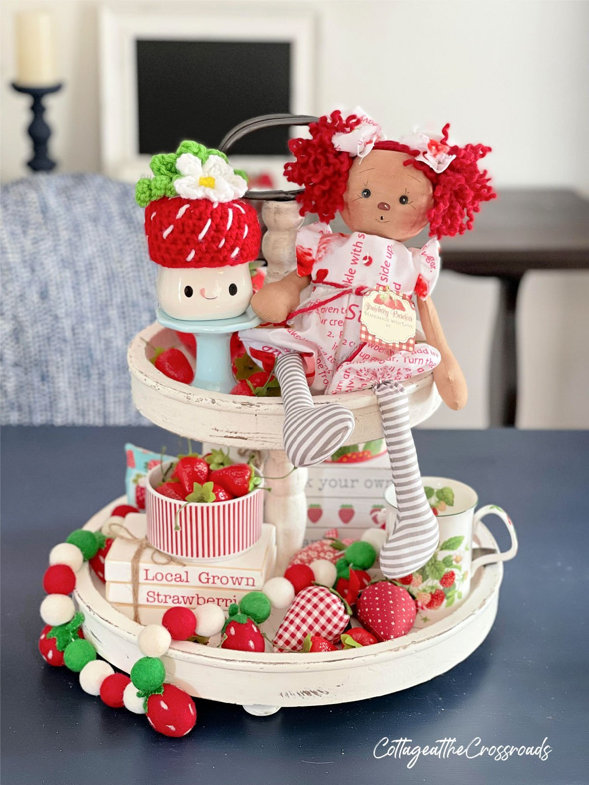 strawberry themed tiered tray