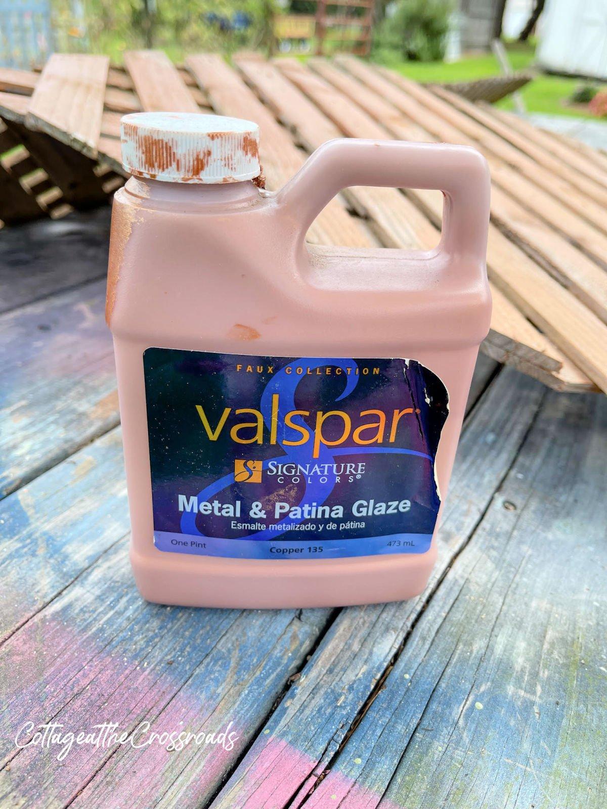 container of Valspar copper metal glaze