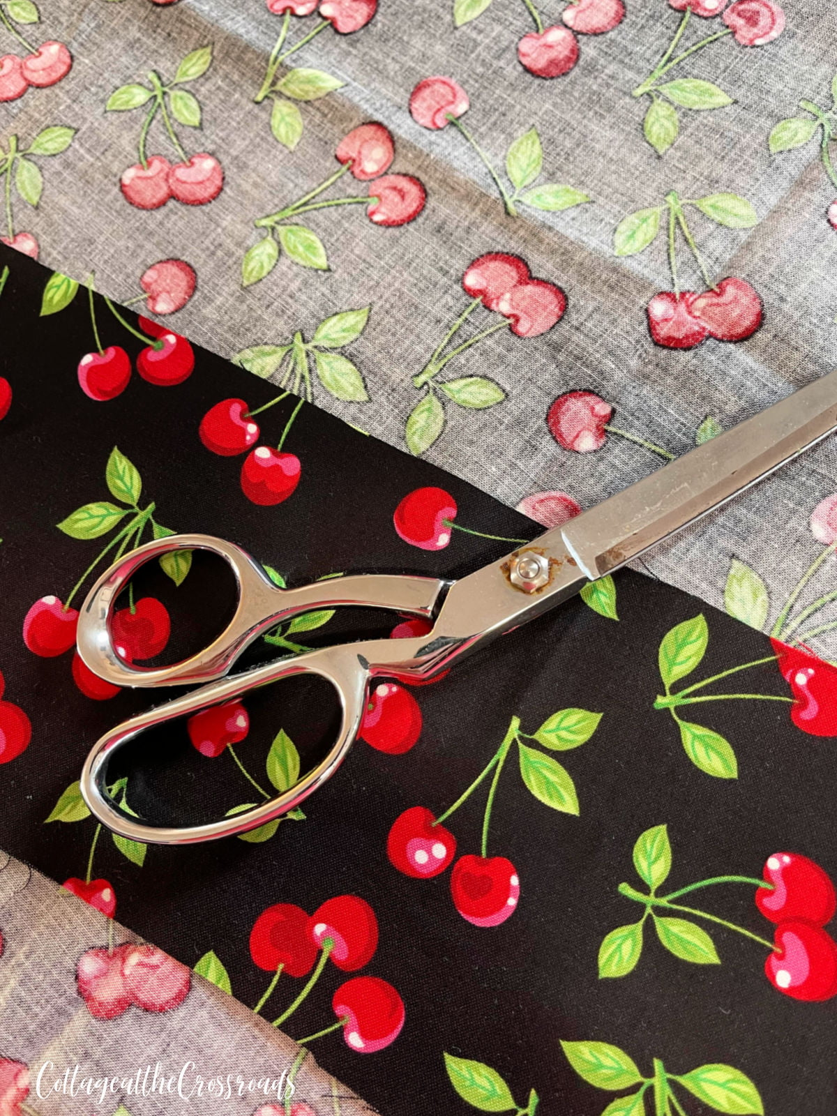 cherry fabric with black background
