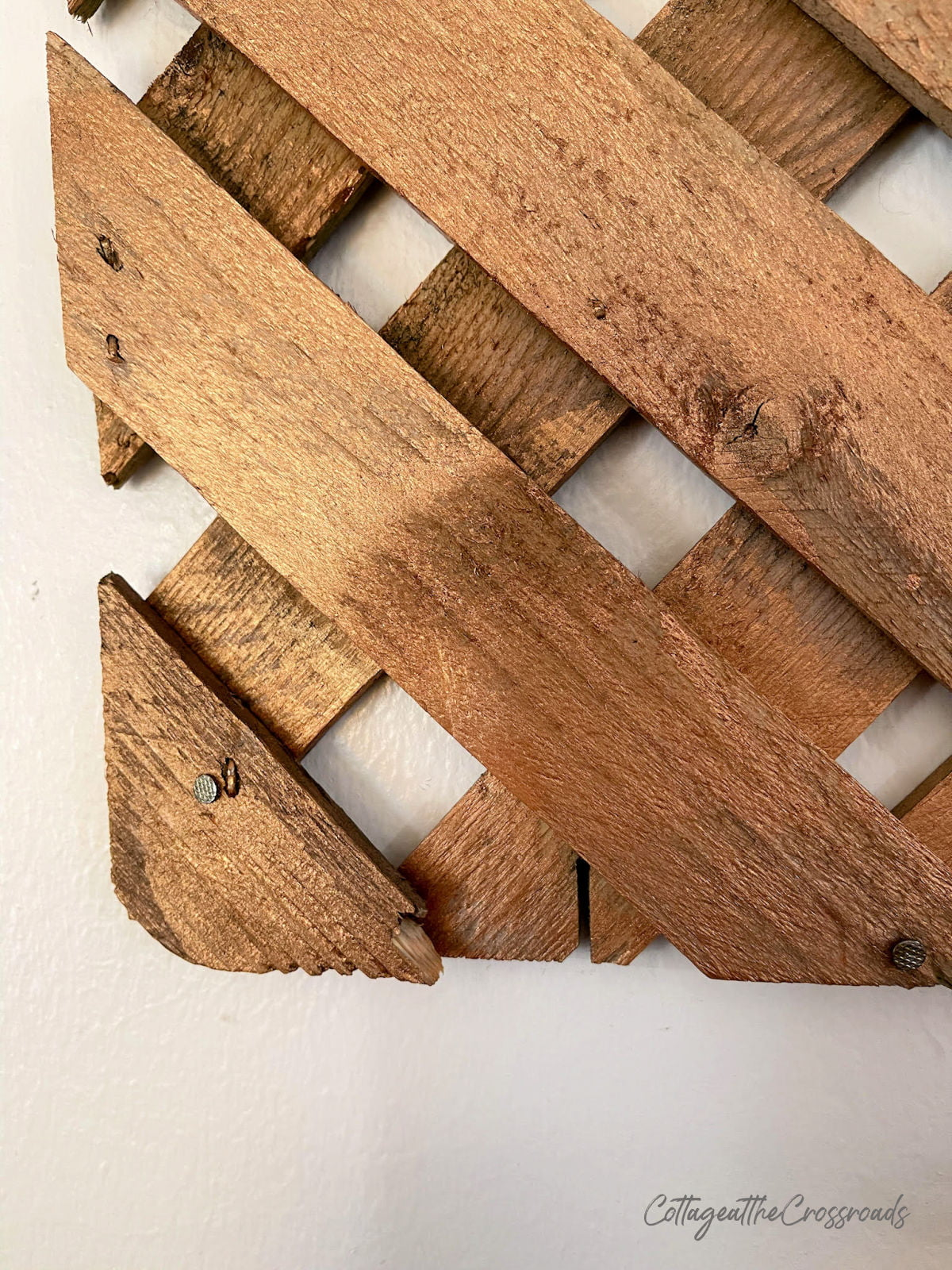 section of wood lattice panel on the wall