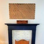 wood lattice wall panel above a mantel