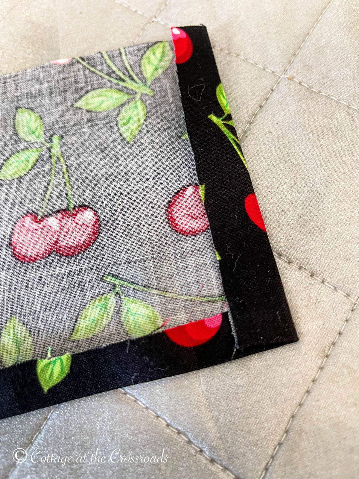 hemming the side of a strip of fabric