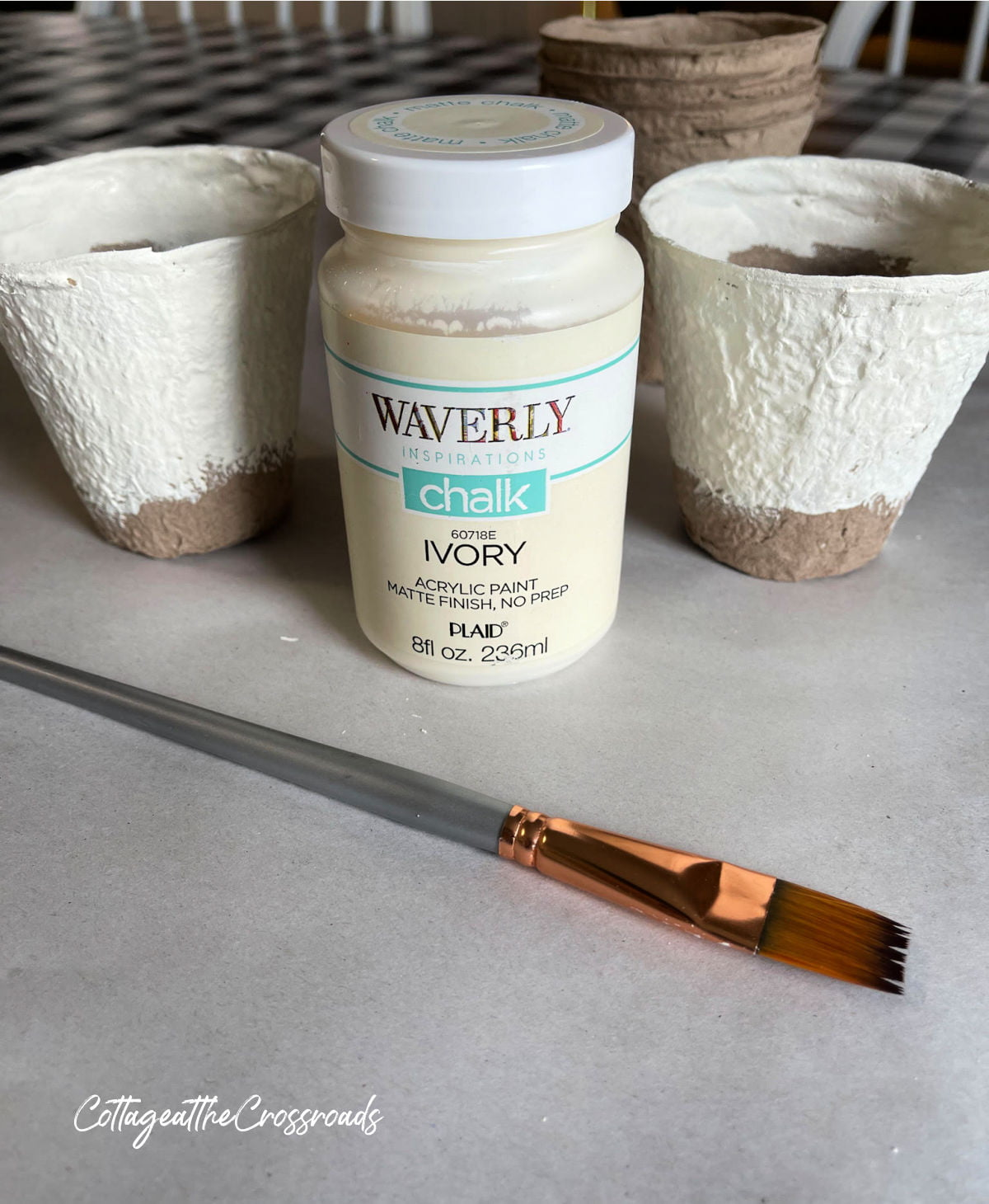 painted peat pots and a container of Waverly chalk paint in Ivory