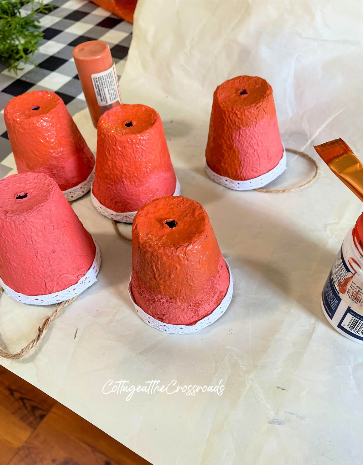 peat pots painted orange
