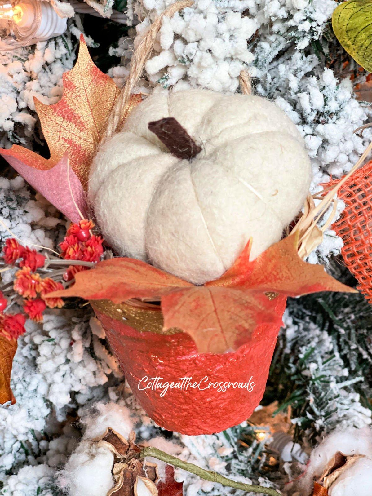white wool pumpkin in a peat pot holder